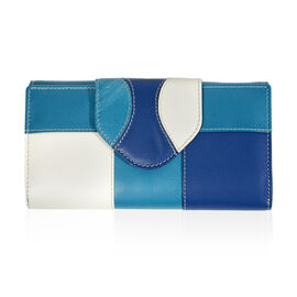 Close Out Deal - 100% Genuine Leather Wallet with Multi Compartments - Blue and White
