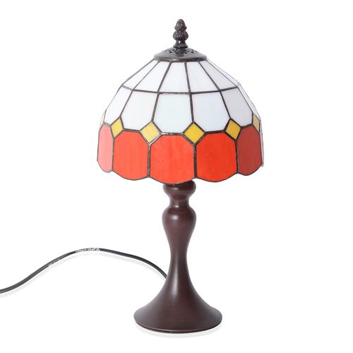 Home Decor - Tiffany Style Table Lamp with Handcrafted Stained Glass - Red and Ivory White with Moth