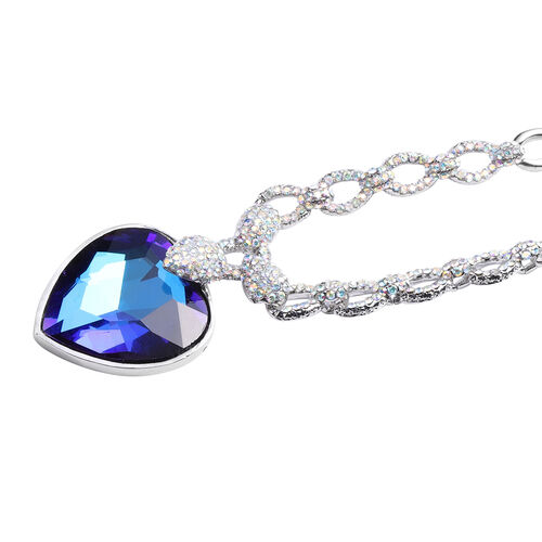 Simulated Sapphire and Simulated Mystic White Crystal Necklace (Size 20 with 2 inch Extender) with Lobster Lock in Silver Tone