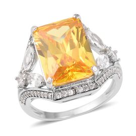 Simulated Yellow Sapphire (Oct 14x10 mm), Simulated Diamond Ring (Size O) in Silver Plated