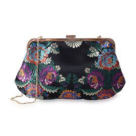 Black with Multi Colour Embroidery Flower Pattern Clutch Bag with Chain Shoulder Strap (Size 29x17.5 Cm)