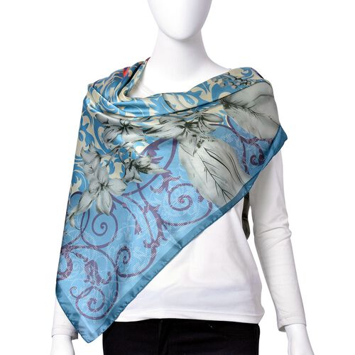 Teal, Cream and Multi Colour Floral Pattern Square Shape Scarf (Size 110X110 Cm)