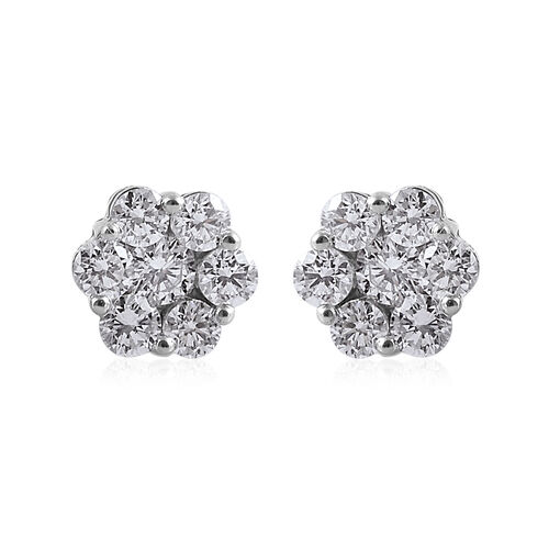 RHAPSODY 1 Carat Diamond Cluster Stud Earrings in 950 Platinum 1.9 Gms With Screw Back IGI Certified