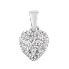 J Francis - Platinum Overlay Sterling Silver (Rnd) Pendant Made with SWAROVSKI ZIRCONIA 0.336 Ct.