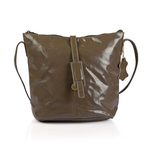 100% Genuine Leather RFID Blocker Dark Beige Colour Crossbody Handbag (Size 29X24X4 Cm)