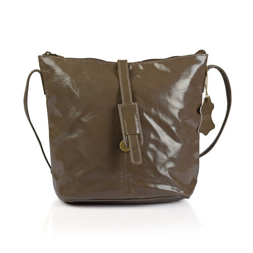 100% Genuine Leather RFID Blocker Dark Beige Colour Crossbody Handbag (Size 29X24X4 Cm)