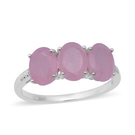 Pink Jade (Ovl) Trilogy Ring (Size S) in Sterling Silver 3.330 Ct.