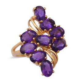 3.69 Ct Amethyst Cluster Ring in Sterling Silver 3.50 Grams