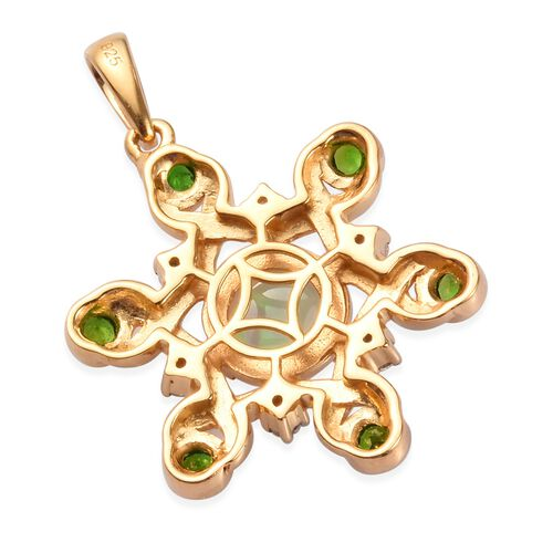 Ethiopian Welo Opal, Russian Diopside and Natural Cambodian Zircon Pendant in 14K Gold Overlay Sterling Silver 1.50 Ct.