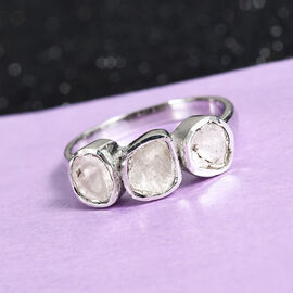 0.35 Ct Polki Diamond Trilogy Ring in Platinum Plated Sterling Silver