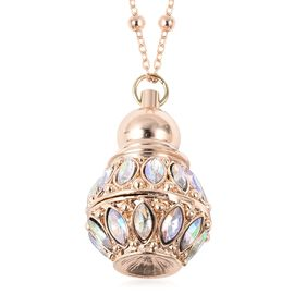 AB Colour Crystal (Mrq), Simulated Diamond Perfume Bottle Necklace (Size 27 with 3 inch Extender) in