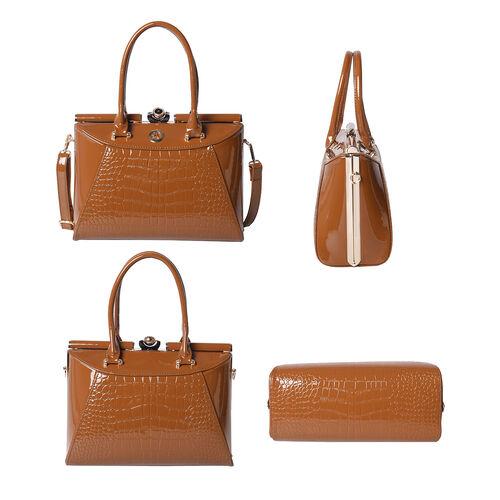 BOUTIQUE COLLECTION Croc Pattern Satchel Bag with Detachable and Adjustable Shoulder Strap (Size 30x13x22 Cm) - Tan