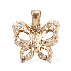 Royal Bali Collection 9K Yellow Gold Diamond Cut Butterfly Pendant