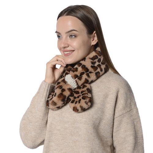 Faux Fur Leoprad Print Scarf with Pearl (Size 10x80cm) - Brown