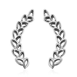 J Francis Platinum Overlay Sterling Silver Wheat-Inspired Climber Earrings (with Push Back) Made wit