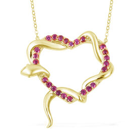Designer Inspired-Burmese Ruby (Rnd) Immortal Love Necklace (Size 18) in 14K Gold Overlay Sterling Silver 1.250 Ct., Silver wt 5.00 Gms.