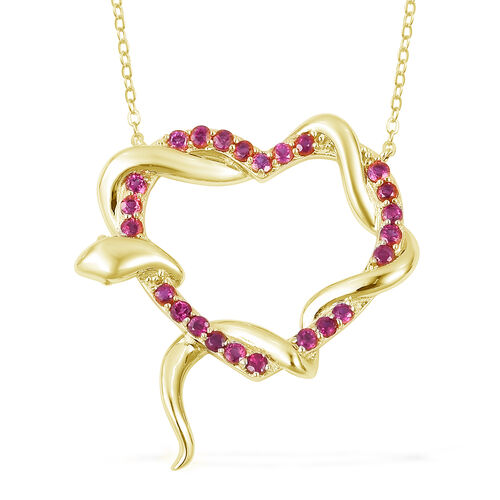 Designer Inspired-Burmese Ruby (Rnd) Immortal Love Necklace (Size 18) in 14K Gold Overlay Sterling Silver 1.250 Ct, Silver wt 5.00 Gms.