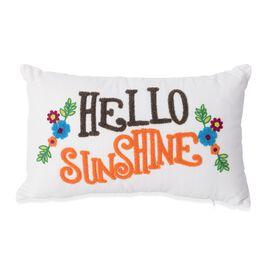 White and Multi Colour Hello Sunshine Embroidery Decorative Cushion (Size 45x28 Cm)