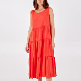 TAMSY 100% Viscose Open Back Tie Detail Tiered Midi Dress (One Size, 48x128cm) - Coral