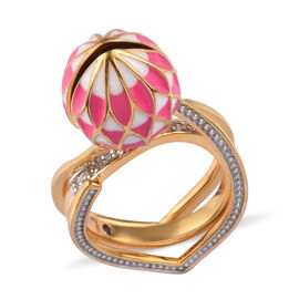 GP 3.14 Ct 2A African Ruby and Multi Gemstone Lotus Reveal Ring in Gold Plated Sterling Silver