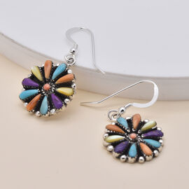 Santa Fe Collection - Spiny Turquoise Hook Earrings in Rhodium Overlay Sterling Silver 4.00 Ct.
