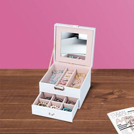 Two Layer Jewellery Box with Extendable Mirror in White