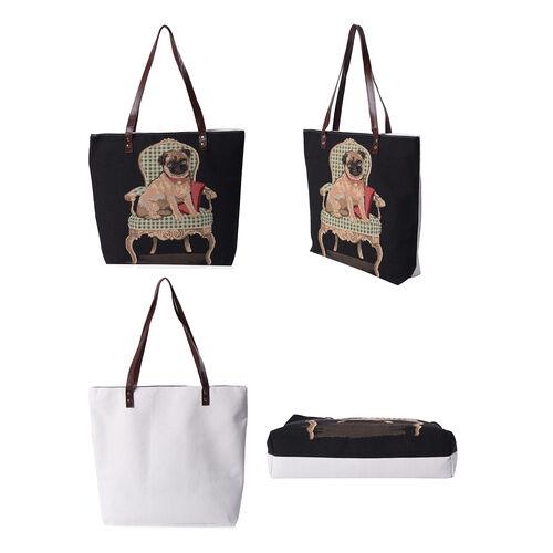 Lovely Dog Pattern Large Tote Bag (Size 35x11x39 Cm) - Black