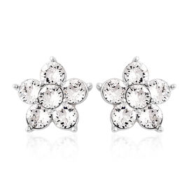 J Francis White Crystal from Swarovski Floral Stud Earrings in Rhodium Plated Silver