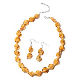 2 Piece Set - Champagne Colour Murano Glass Beads Necklace (Size 20 with 3 inch Extender) and Hook E