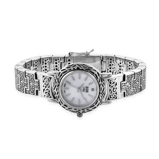 Royal Bali Collection EON 1962 Swiss Movement Sterling Silver Filigree Design Bracelet Watch (Size 6