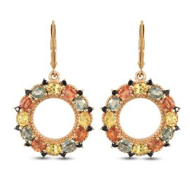 Yellow Sapphire, Green Sapphire, Orange Sapphire, Black Spin Earring in 14K Gold Overlay Sterling Si