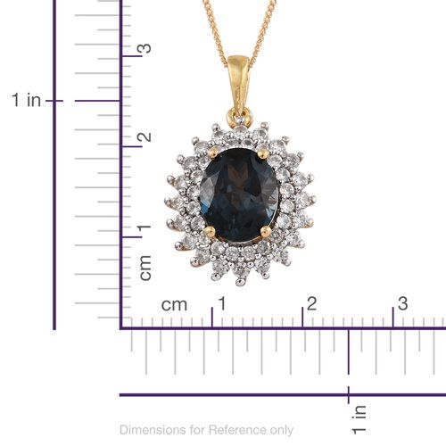 London Blue Topaz (Ovl 2.80 Ct), Natural Cambodian Zircon Pendant with Chain in 14K Gold Overlay Sterling Silver 3.500 Ct.