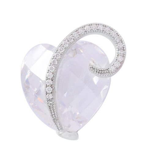 ELANZA Simulated White Diamond (Hrt) Pendant in Rhodium Plated Sterling Silver