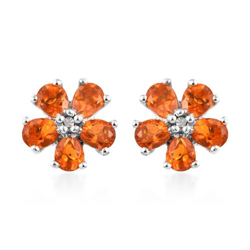 Jalisco Fire Opal (Pear), Diamond Flower Stud Earrings (with Push Back) in Platinum Overlay Sterling
