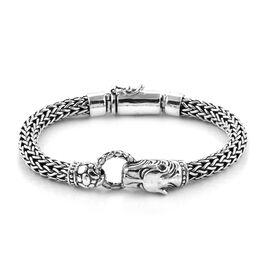 Royal Bali Collection - Sterling Silver Tiger Head Tulang Naga Bracelet (Size 8), Silver wt 53.20 Gm