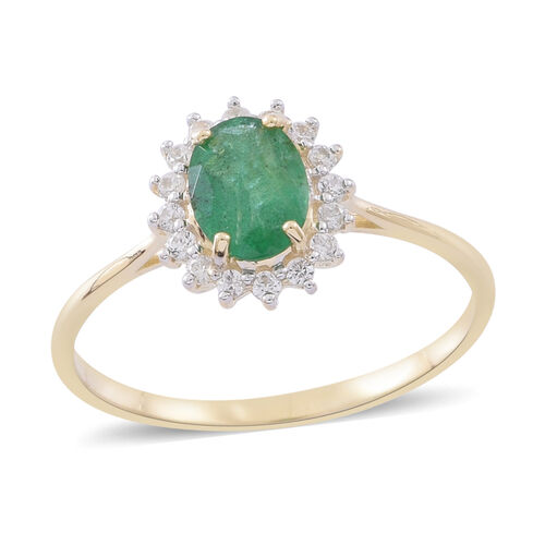 Designer Inspired- Limited Edition- 9K Yellow Gold AA Kagem Zambian Emerald (Ovl 1.15 Ct), Natural White Cambodian Zircon Ring 1.500 Ct.
