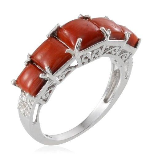 Mediterranean Coral (2.00 Ct) and Diamond Platinum Overlay Sterling Silver Ring  2.010  Ct.