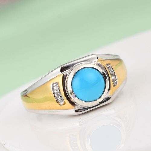 Arizona Sleeping Beauty Turquoise, Natural Cambodian Zircon Ring in Platinum and Yellow Gold Overlay Sterling Silver 1.25 Ct, Silver wt. 5.67 Gms
