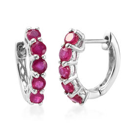 AA African Ruby Inside Out Hoop Earrings (with Clasp Lock) in Platinum Overlay Sterling Silver 2.00