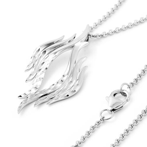 LucyQ Flame Collection - Rhodium Overlay Sterling Silver Pendant with Chain (Size 20)