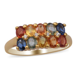 Rainbow Sapphire and Natural Cambodian White Zircon Ring in Yellow Gold Overlay Sterling Silver 2.35