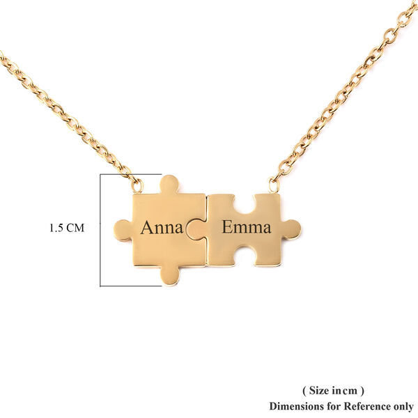 Personalised Engravable Puzzle Necklace, Size 17+2 Inch, Stainless Steel