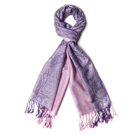 Purple and Pink Colour Cashew Flower Pattern Shawl with Tassels (Size 180x70 Cm)