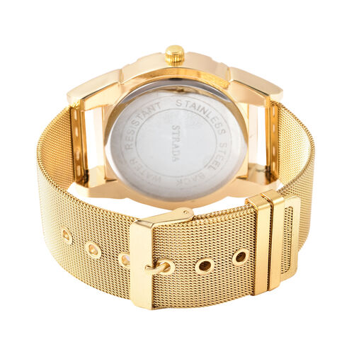 STRADA Japanese Movement Navy Blue Dial Water Resistant Watch with Yellow Gold Tone Mesh Style Strap in Stainless Steel