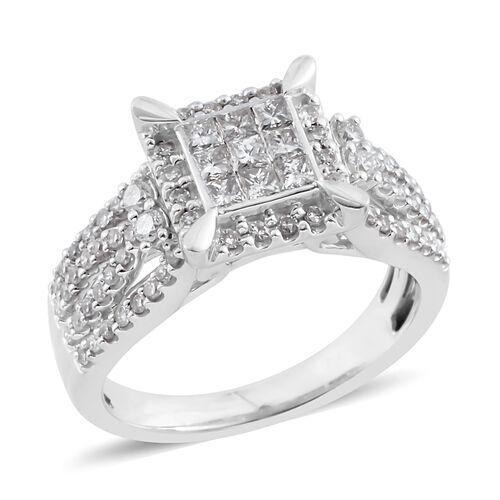NY Close Out Deal-14K White Gold Diamond (Princess & Rnd) (I1-I2/G-H) Ring  0.900 Ct, Gold wt 5.80 Gms.