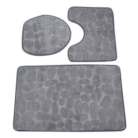 3 Piece Round Stone Embossed Pattern Bathmat Set - Toilet Mat, Bath Mat and Toilet Seat Cover in Gre