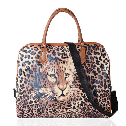Deal Of Day Super Chic Leopard Pattern Water Resistant Weekend Bag with Removable and Adjustable Sho