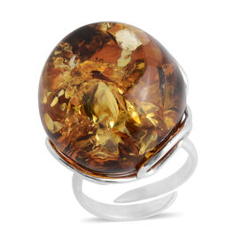 Baltic Amber Adjustable Solitaire Ring in Sterling Silver 6.70 Grams
