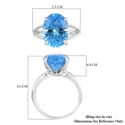 Swiss Blue Topaz Solitaire Ring in Platinum Overlay Sterling Silver 8.54 Ct.