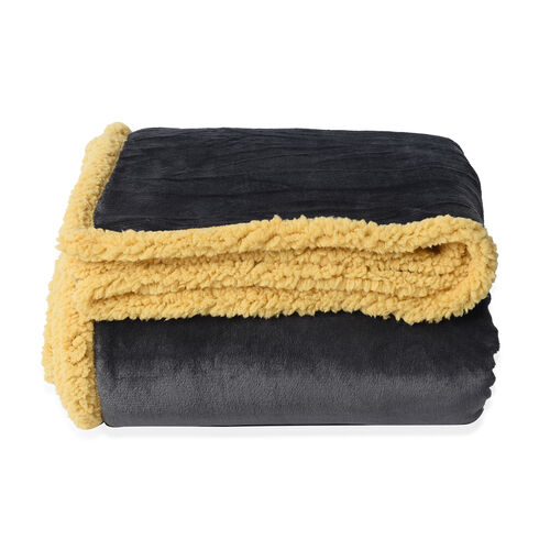 Serenity Night Double Layer Dark Grey and Yellow Sherpa Blanket (Size 200x150cm)